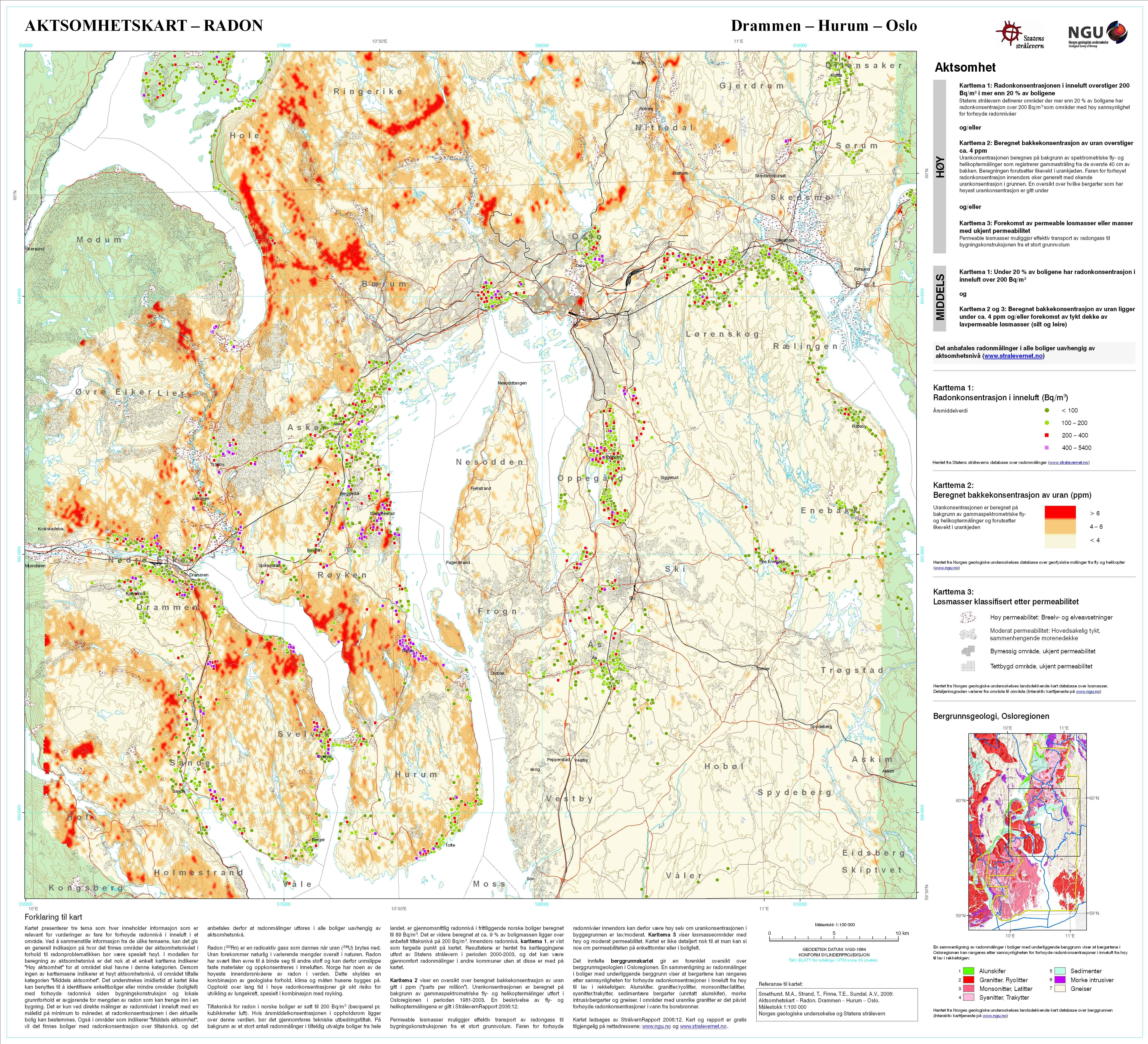 geologisk kart oslo Ny oversikt over radonutsatte områder geologisk kart oslo