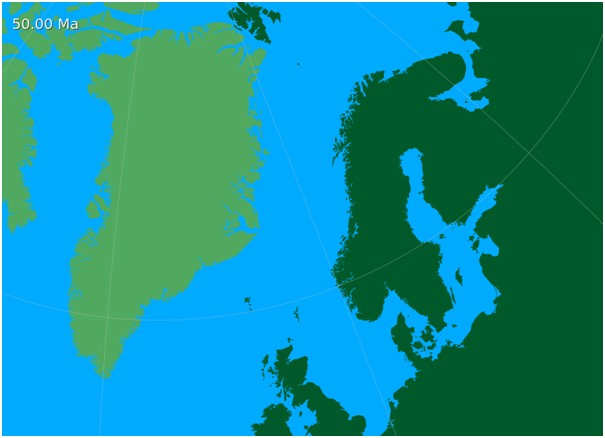 50 million years ago Norway and Greenland had started to break away from each other and the Norwegian Sea began to take form.