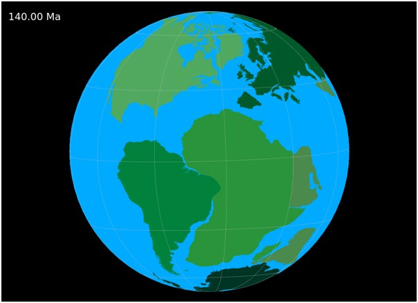 By 140 million years ago Pangaea had begun to break up and the North Atlantic Ocean had begun to form.