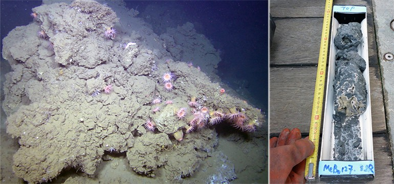 A seep carbonate mound on the Vestnesa Ridge seabed measuring approximately 1.5 meters wide and 1 meter high. Right: A seep carbonate sample from a drill core drawn from about 10 m below the seabed.