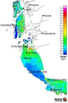 Kart Viser Radioaktivitet Pa Vestlandet Norges Geologiske