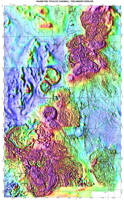 Magnetisk anomalikart Oslo område M1:250000